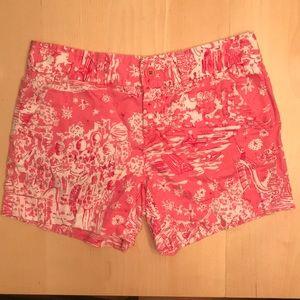 Lilly Pulitzer pink white print shorts sz 0